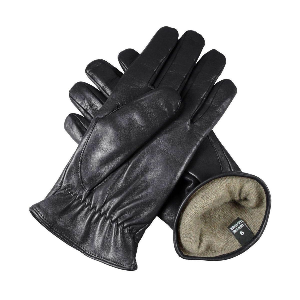 Gants hiver pour hommes - 9.5 - Noir - Agneau Nappa