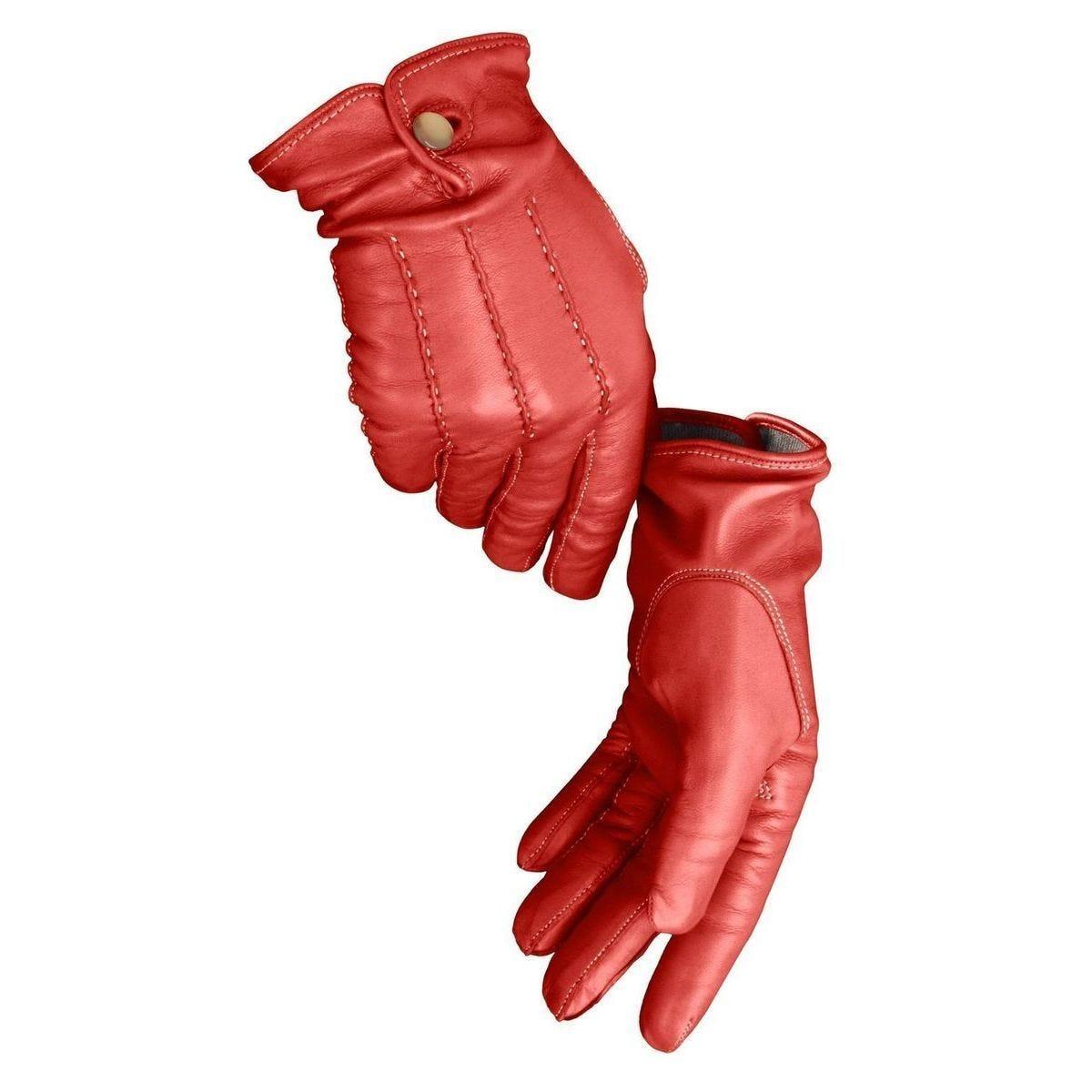 Gants avec bouton pour femmes - 7.5 - Rouge - Agneau Nappa