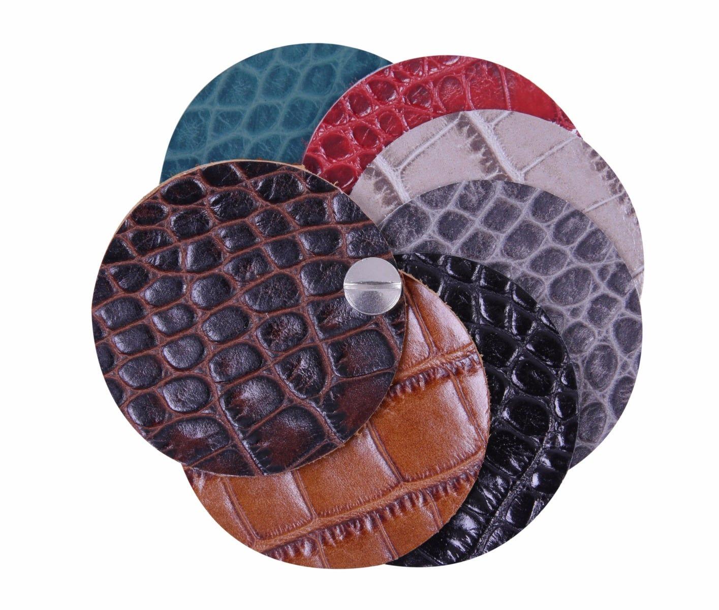 Calf-skin Crocodile style leather swatch