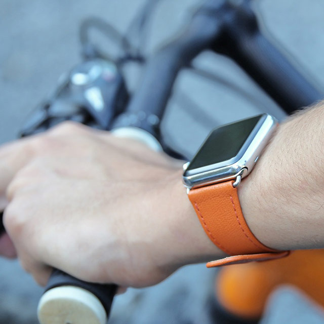 Bracelet Apple Watch 42 mm - Orange - Cuir Lisse