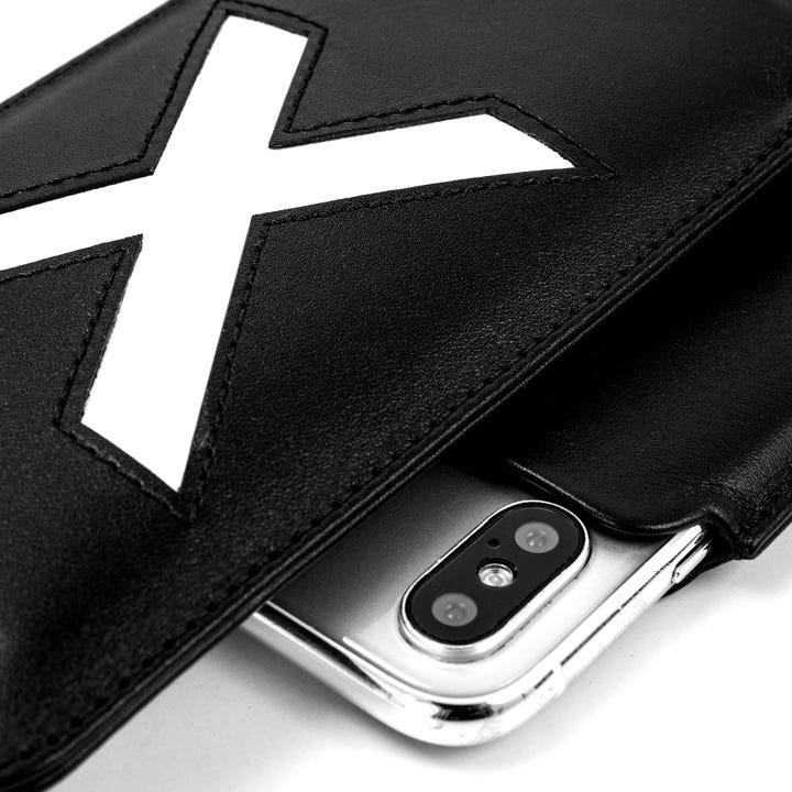 iPhone X 珍藏版皮套 - 黑色/白色 - 光滑皮革