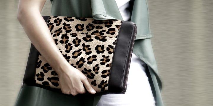 13 英寸公文包 - 浅褐色 - 粒面皮革