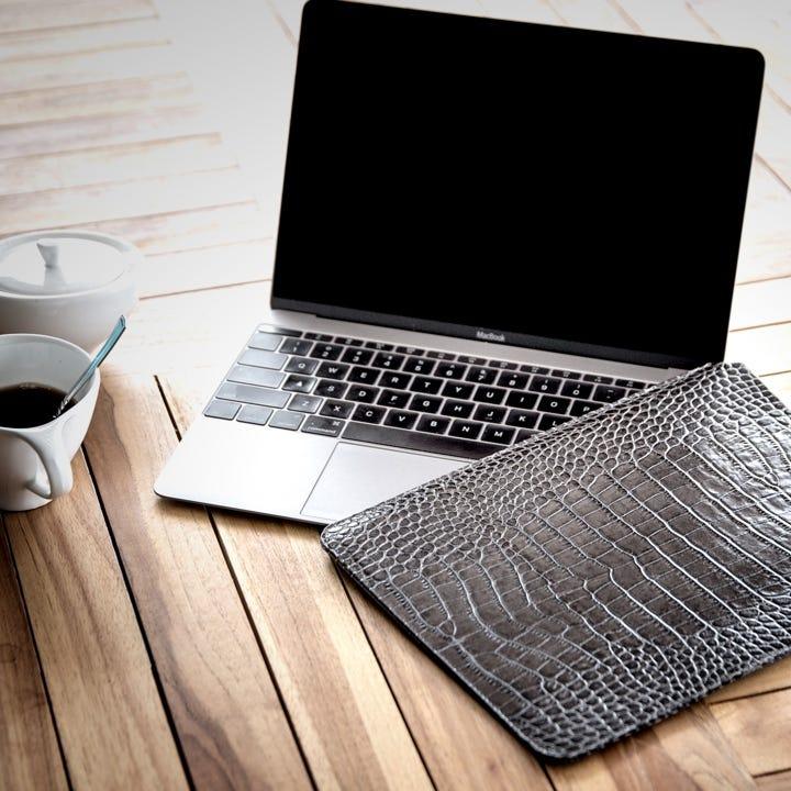 12 英寸 MacBook 护套 - 橘色 - 粒面皮革